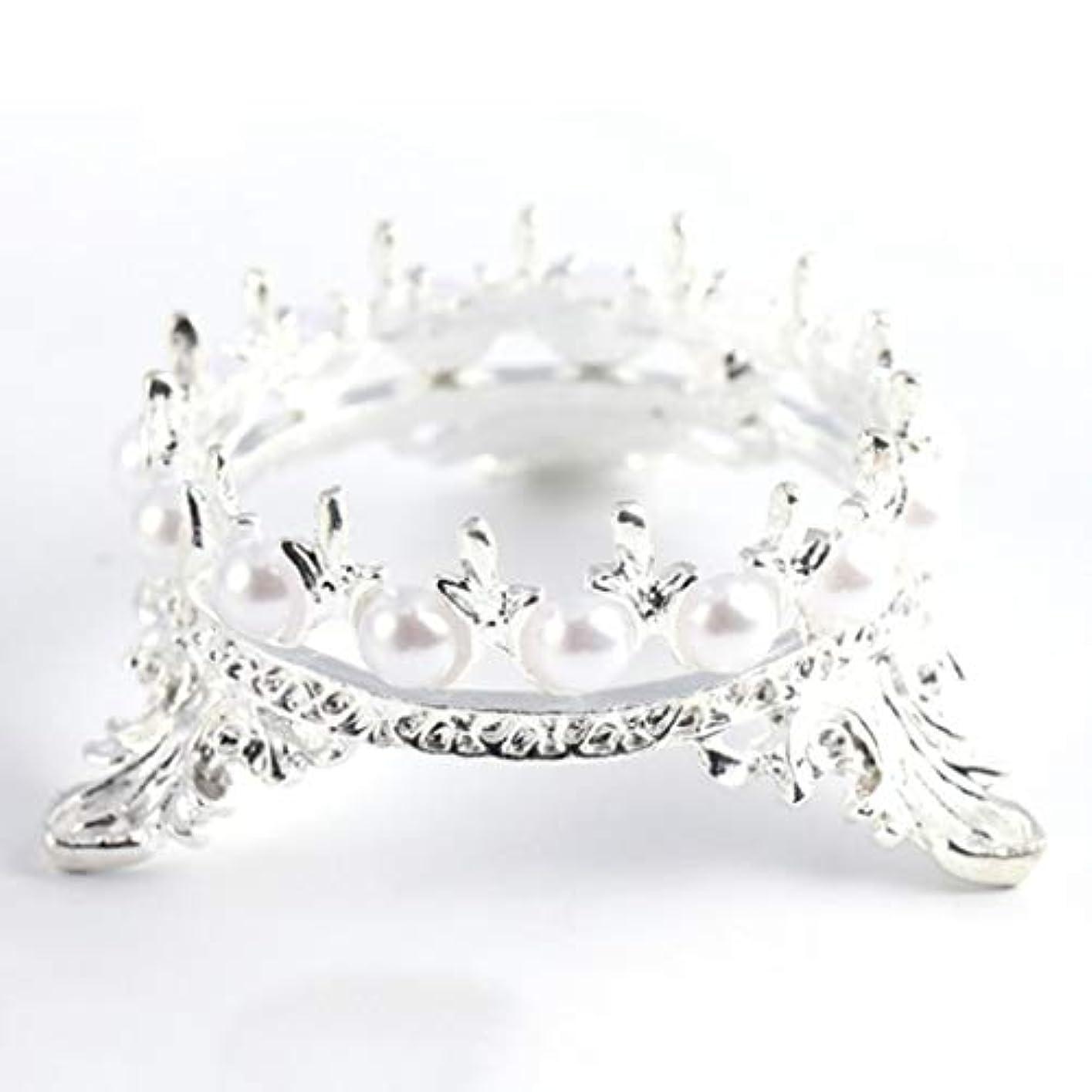 登録する推定する膜Quzama-JS ホット販売1 Xクラウンスタンドペンブラシホルダーパールネイルアートペンラックマニキュアネイルアートツール必需品(None Silver Crown Penholder)