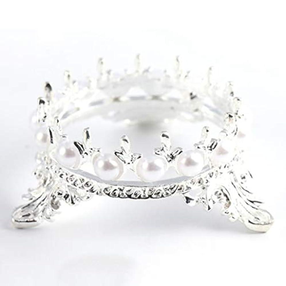 ビルマ不快テクニカルQuzama-JS ホット販売1 Xクラウンスタンドペンブラシホルダーパールネイルアートペンラックマニキュアネイルアートツール必需品(None Silver Crown Penholder)