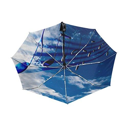 マキク(MAKIKU) 折り畳み傘 自動開閉 軽量 ワンタッチ 日傘 晴雨兼用 uvカット 紫外線対策 頑丈な8本骨 耐風 撥水 グラスファイバー 収納ケース付 音楽 音符 柄 青空 ブルー