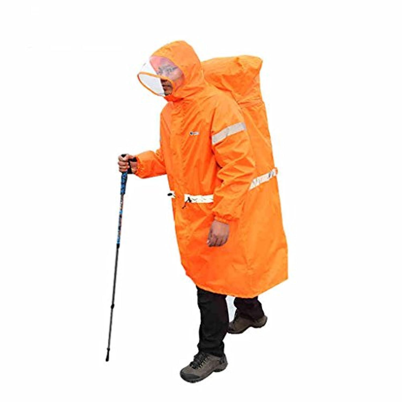 ポリエステルユニセックスワンピースレインコートアウトドアキャンプバックパックレインコートレインストームレインコートレインコート (Color : Orange, Size : M)