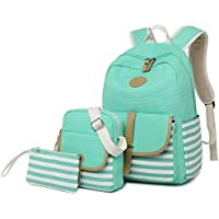 FLYMEI Canvas Laptop Bag Cute School Backpack College Bookbag Shoulder Daypack Casual Travel Bags for Teen Girls and Women
