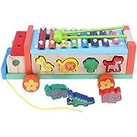 KESOTO プルアドラ車 ノックピアノ 動物マッチングゲーム 3イン1 子どもおもちゃ 教育玩具