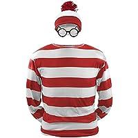 ハロウィン コスプレ ウォーリーを探せ Where's Wally 3点セット 親子ペアルック 恋人 男 女 衣装仮装 コスチューム メンズ レディース 大人用 子供用 キッズ (XL, 男)