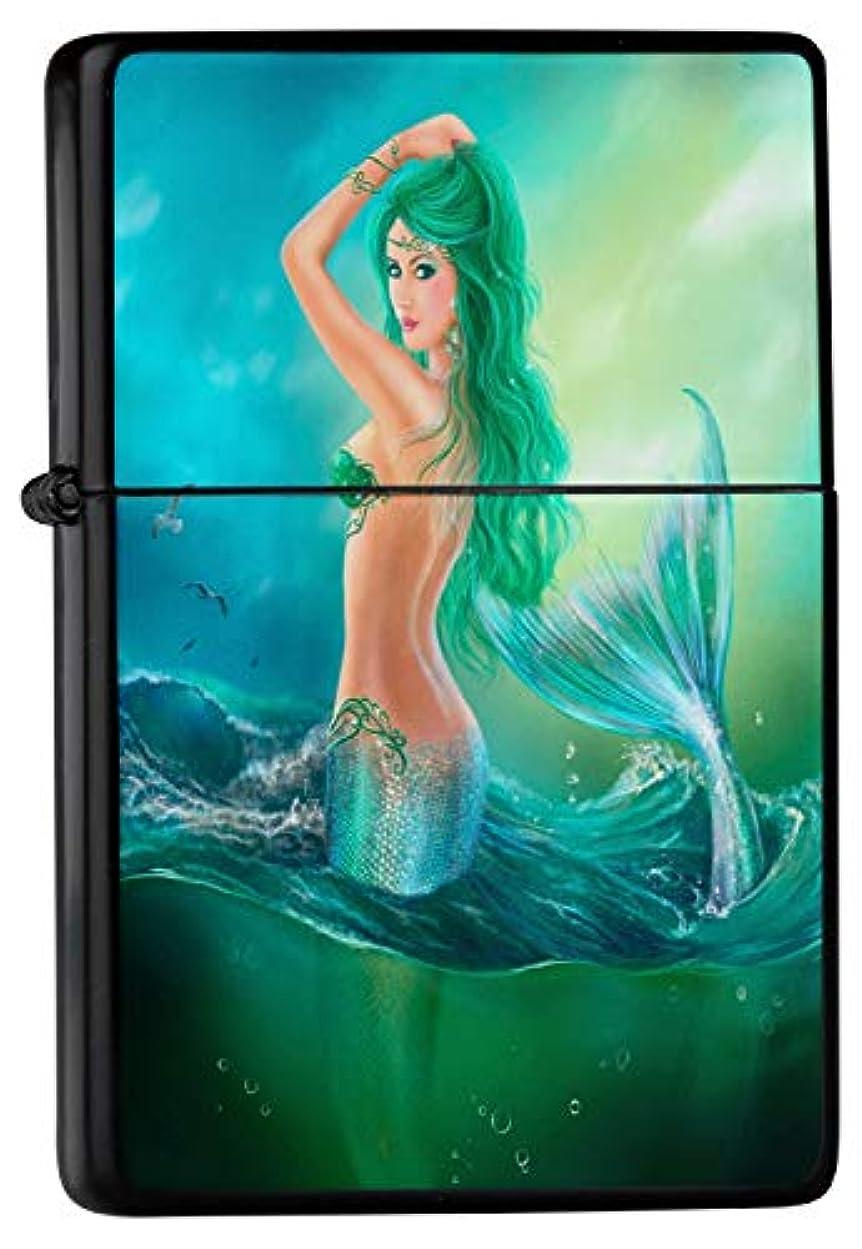 九青カレッジPocket Windproof ライター Lighter Brushed Oil Refillable Mermaid