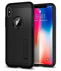 【Spigen】 スマホケース iPhone XS ケース/iPhone X ケース 5.8インチ 米軍MIL規格取得 耐衝撃 スタンド機能 スリム・アーマー 057CS22138 (ブラック)