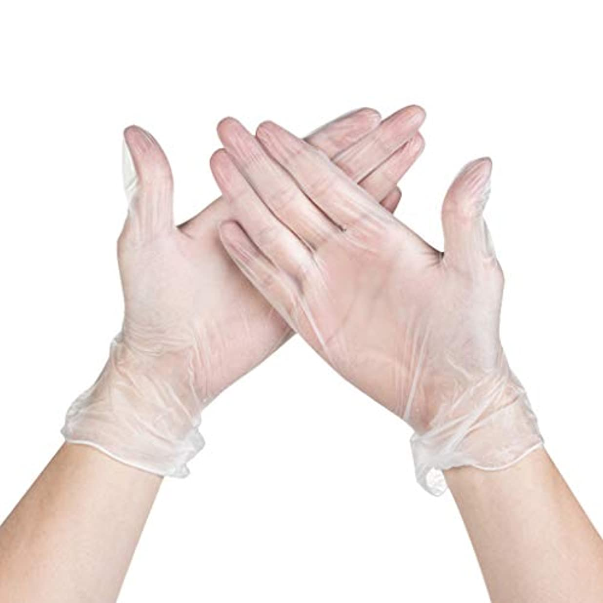 ボーダー不規則な戸惑うパウダーフリーの使い捨て医療検査食品電子修理ホーム透明PVC使い捨て手袋箱入り YANW (色 : トランスペアレント, サイズ さいず : M m)