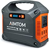 AIMTOM Portable Solar Generator, 42000mAh 155Wh Power Station, Emergency Backup Power Supply W/Flashlights, for Camping, Home, CPAP, Travel, Outdoor (240V/ 100W AC Outlet, 3x 12V DC, 3x USB Output)