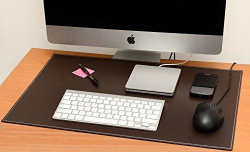 コンピュータレザーデスクパッド、スタイリッシュマットカバー、リバーシブルカラーデザインブラウンにカーキ、16x 24インチ