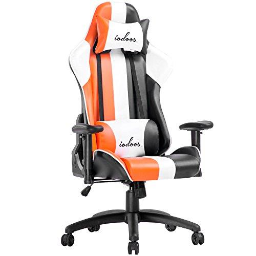IODOOS ゲーミングチェア gaming chair 腰に優しいランバーサポート付き 無段階約170度リクライニング 10cm上下昇降機能 PCチェア ロッキング付き 耐久性あるPUレザー (オレンジ)F-18EAA