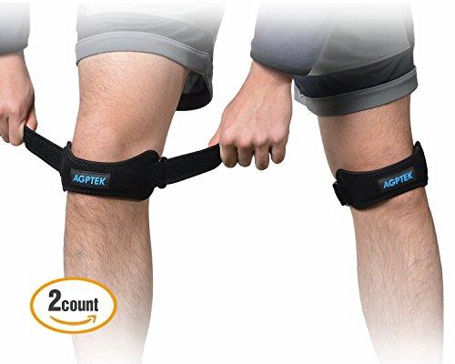 AGPtEK 膝サポーター 膝バンド 膝固定 怪我防止 関節靭帯保護 運動 ランニング フリーサイズ コンパクト 左右兼用 2個入り ブラック