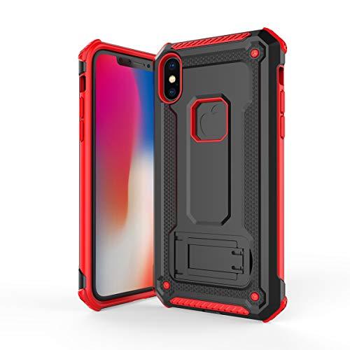 iPhone Xs Max シェル, iPhone Xs Max カバー, MeetJP バックシェル ポーチ ポーチ カバー シェル, 信頼性のある 保護, ポーチ シェル の iPhone Xs Max - Red+Black