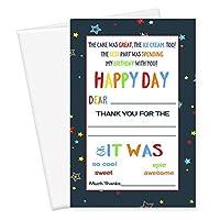 誕生日Thank YouカードKidsひな形( 15)セットカラフルStarryパーティーNotecards