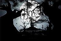 Qinunipoto 背景布 ハロウィン 写真撮影用 丸い月 枯れ木 墓地 暗い雲 夜 happy halloween 写真ブース撮影 背景ポスター 写真 写真背景 人物撮影 撮影用 写真の背景 背景幕 無反射布 小道具 ビニール 1.5x1m