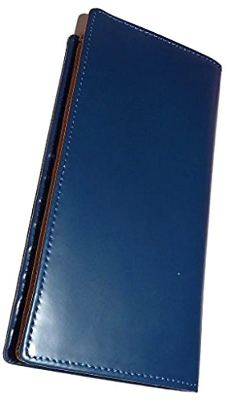 爆発物現実的ベール馬革×牛革二つ折り財布 United HOMME (長財布ブルー)