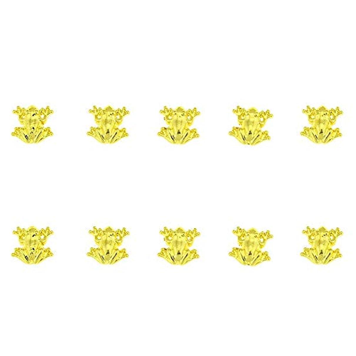 道徳捨てる減少10個/ロット3D 10ミリメートル* 10ミリメートルネイルアート美容ゴールデンフロッグデザインメタルネイルアートの装飾用品