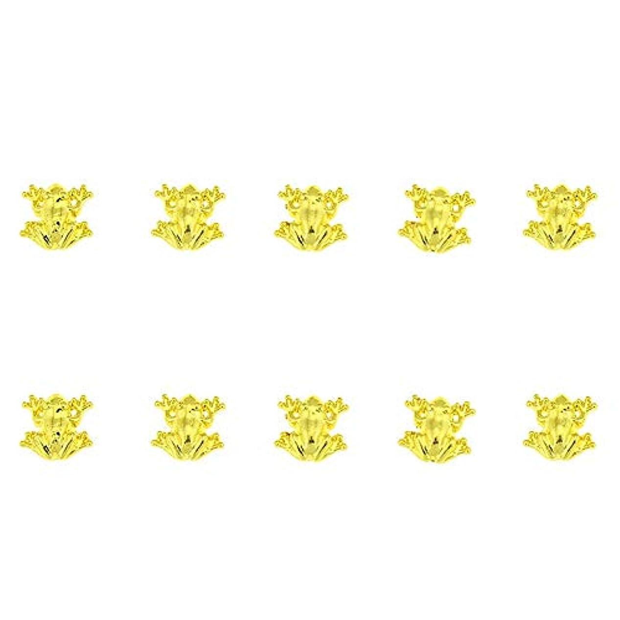 研磨蚊衝突10個/ロット3D 10ミリメートル* 10ミリメートルネイルアート美容ゴールデンフロッグデザインメタルネイルアートの装飾用品