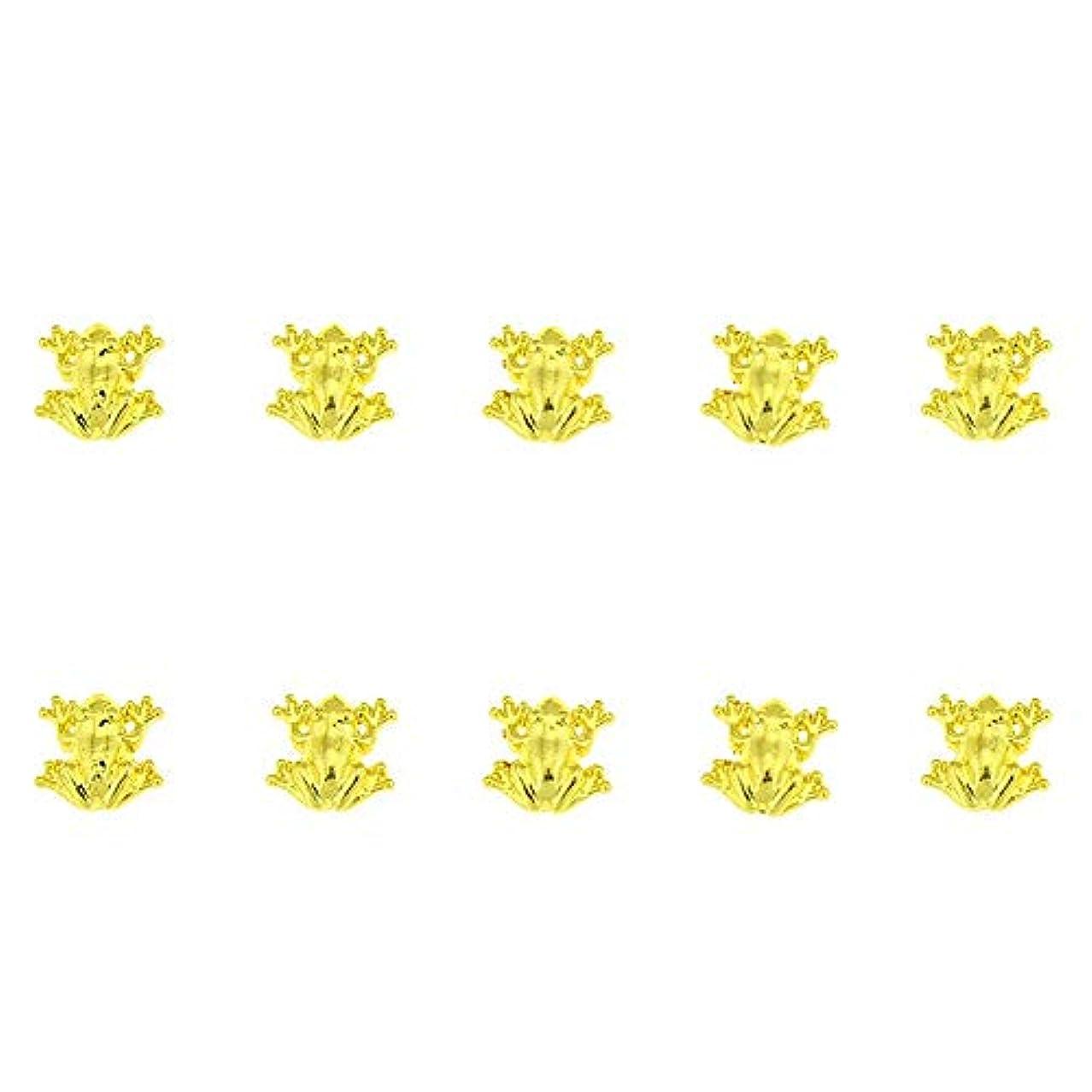 広がりいうほこりっぽい10個/ロット3D 10ミリメートル* 10ミリメートルネイルアート美容ゴールデンフロッグデザインメタルネイルアートの装飾用品