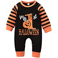 Buyinsoon My First Halloween Baby Boy, Baby Girl Romper Newborn Toddler Clothes Halloween Striped Jumpsuit for 0-24M Baby