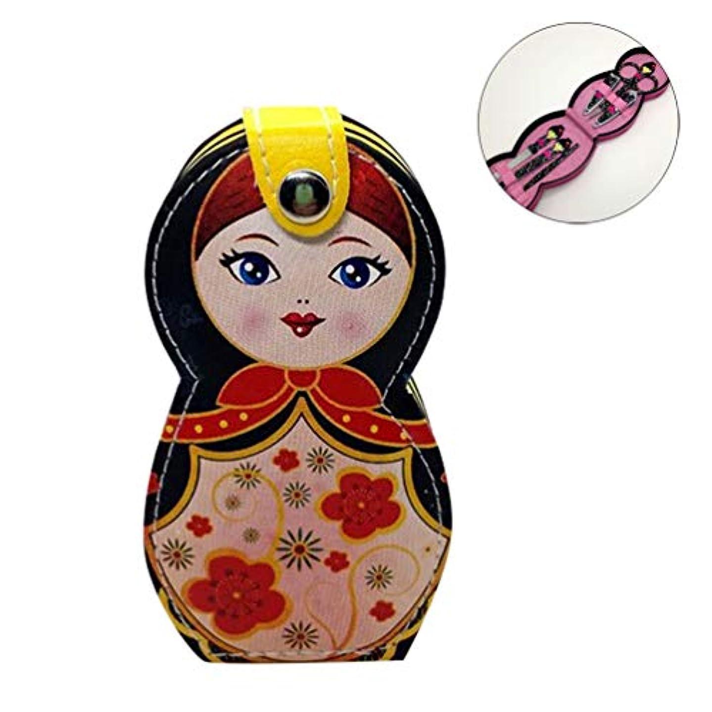 創造とにかく冷淡なHongma ネイルケアセット マニキュアセット 可愛い 日本人形 ロシア人形 グルーミングキット 爪やすり 爪切りセット 携帯便利 収納ケース付き (ロシア人形ブラック)