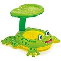 インフレータブルサンシェードキャノピー、スイミングリング、プールのフロート玩具(6-36ヶ月の赤ちゃんのための安全ハンドヘルドとダブルシートボート)で親子のサークルの母とベビーの水泳フロート (色 : Green seat ring)