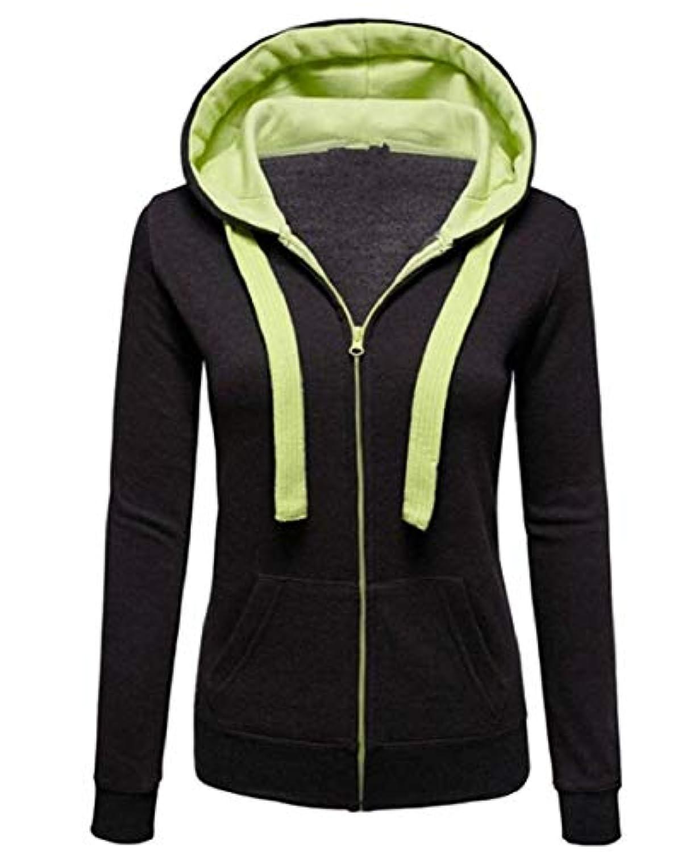 maweisong 女性フーディージャケットファッションロングスリーブ郵便番号アップニットスウェットシャツ