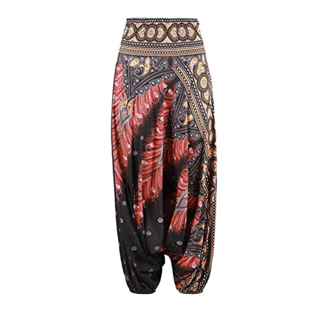 解任場合話DeeploveUU スタイリッシュなエスニックスタイル3Dプリントインドベリーダンスパンツワイドレッグルーズカジュアルヨガのズボンファッション女性フィットネスパンツ