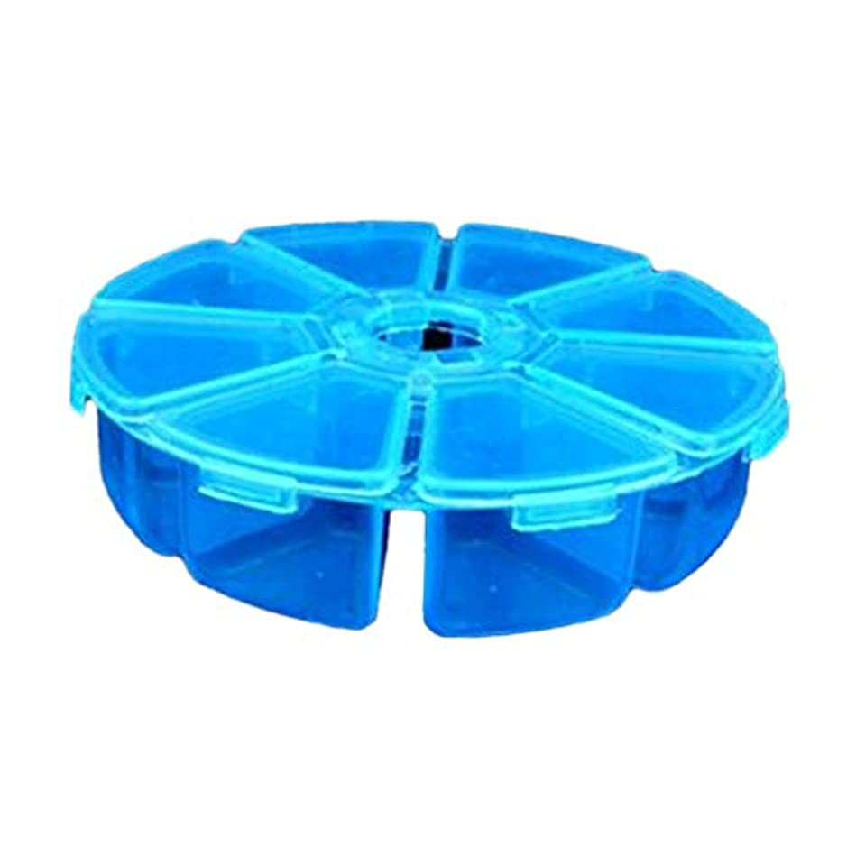 センチメートルる普遍的なPerfeclan ネイルアート 収納ボックス パーツ入れ 整理 円形 8コンパートメント ビーズオーガナイザーケース 全4色 - ブルー