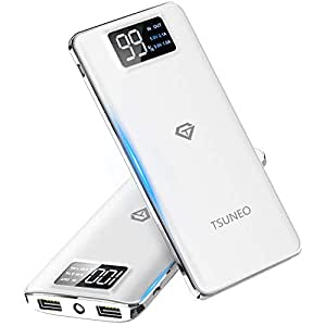 【2019最新版】モバイルバッテリー 大容量 15600mAh スマホ充電器 LCD残量表示 2つUSB出力ポート(1A+2.1A)急速充電バッテリー 軽量 薄型 旅行/緊急用 Android/iPhone/iPad対応 (ホワイト) (ホワイト)