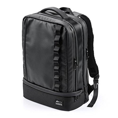 [アルファインダストリーズ] リュック 2層式 靴/弁当収納 耐水 A4収納 多ポケット ブラック 200-BAGBP014BK