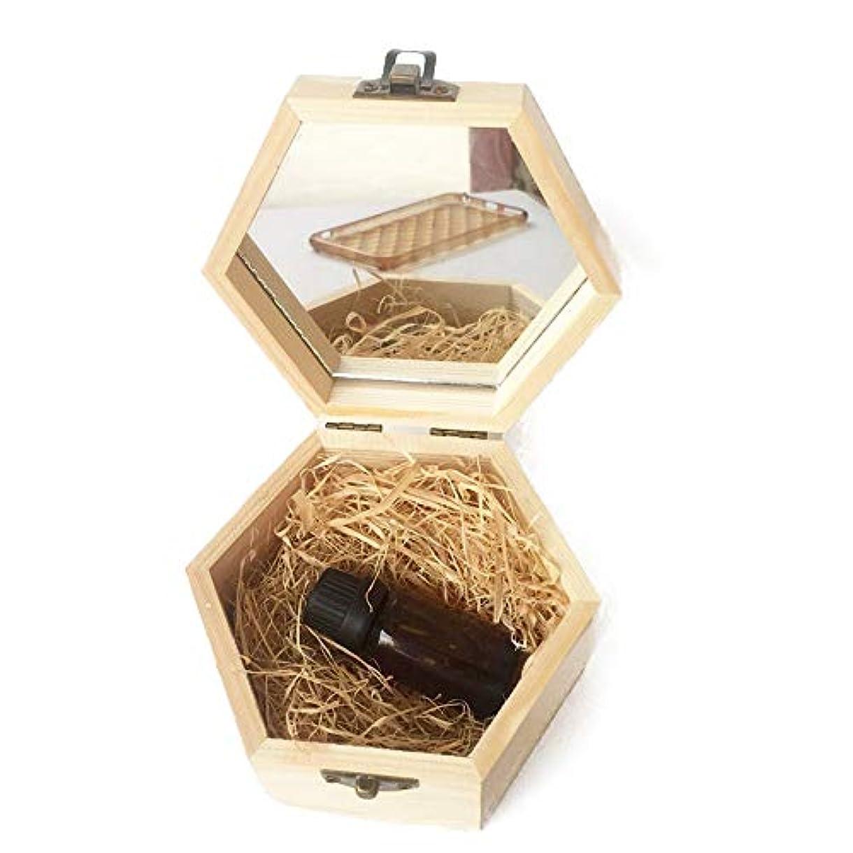妥協先のことを考える試すエッセンシャルオイルの保管 アロマセラピーのエッセンシャルオイル木箱の品質収納ケース (色 : Natural, サイズ : 13X11.3X6.8CM)