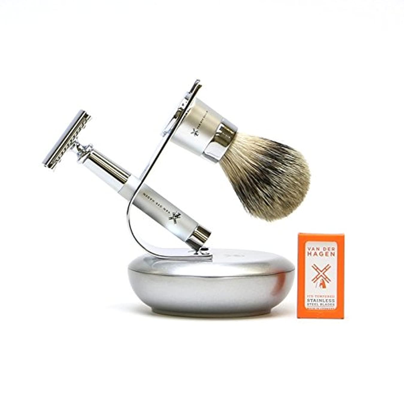 VANDERHAGEN(米) ウェットシェービングセット ジェットセット 両刃 髭剃り 替刃5枚付
