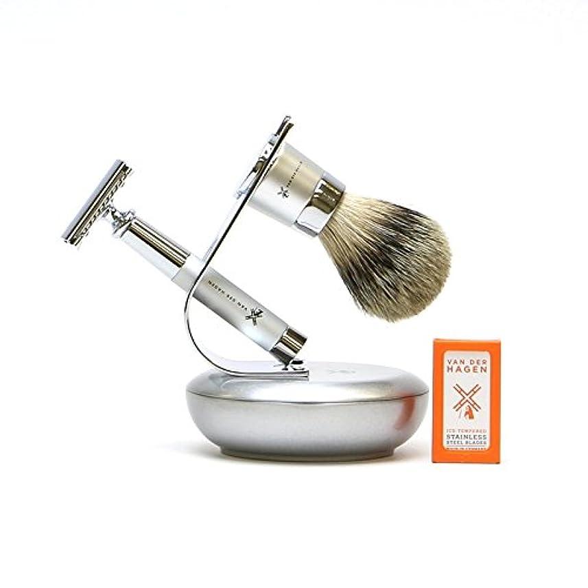 割るペンコンソールVANDERHAGEN(米) ウェットシェービングセット ジェットセット 両刃 髭剃り 替刃5枚付