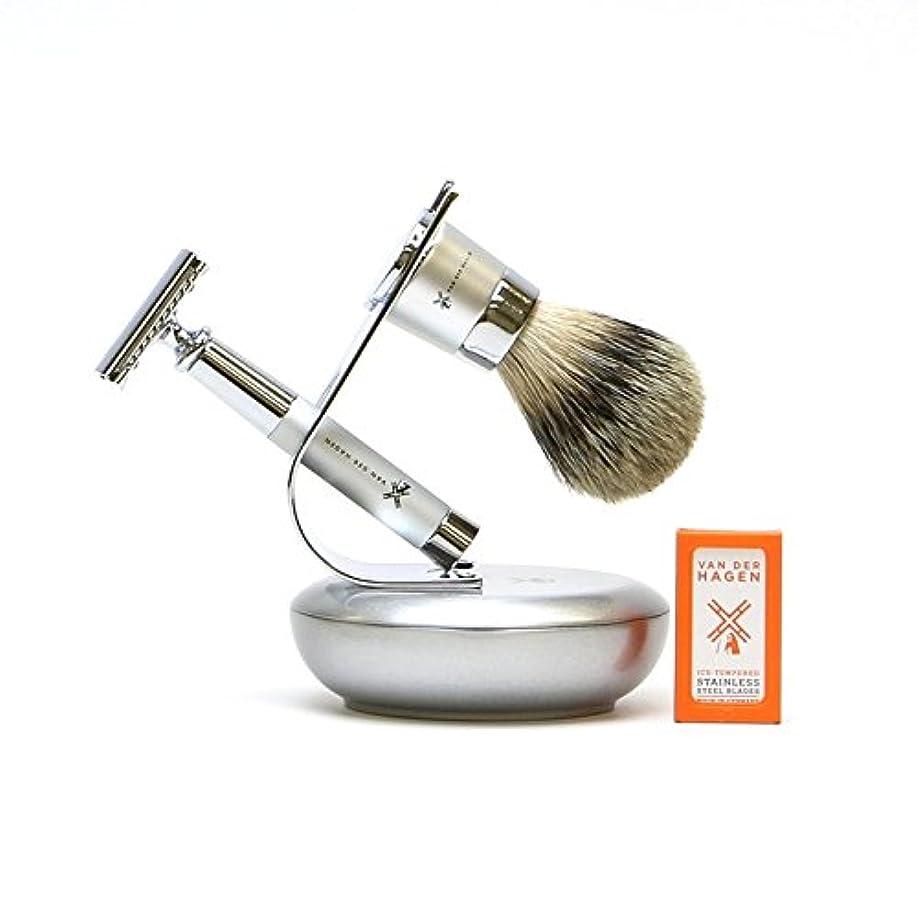 天皇バケツ法廷VANDERHAGEN(米) ウェットシェービングセット ジェットセット 両刃 髭剃り 替刃5枚付