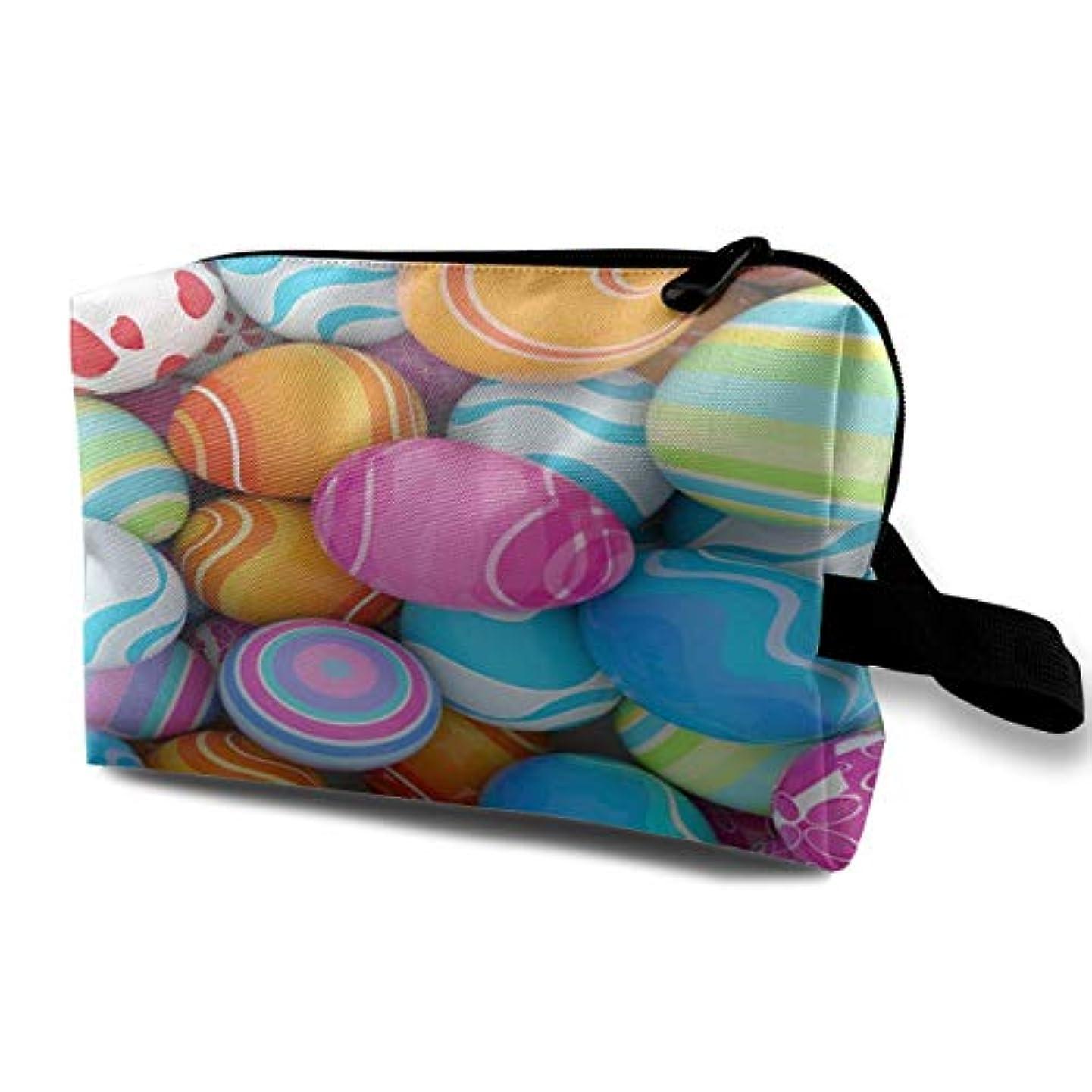酔っ払いどうしたの陸軍Easter Eggs Multicolor 収納ポーチ 化粧ポーチ 大容量 軽量 耐久性 ハンドル付持ち運び便利。入れ 自宅?出張?旅行?アウトドア撮影などに対応。メンズ レディース トラベルグッズ