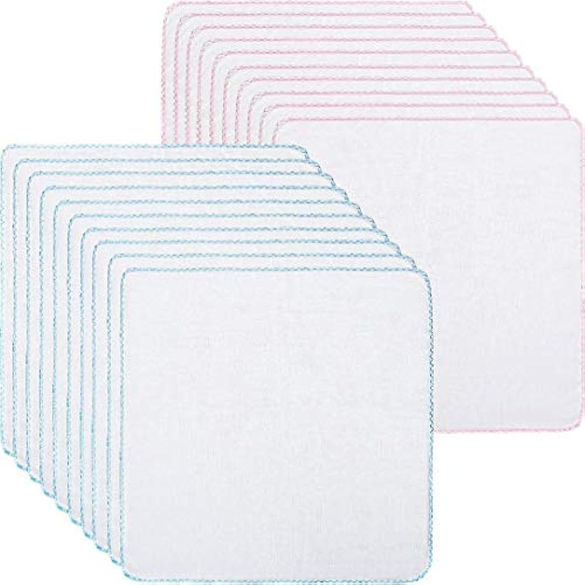 最少開梱有害Quzama-JS 実用的な20ピースピュアコットンフェイシャルクレンジングmuslinクロスソフトフェイシャルクレンジングメイクリムーバー布、青とピンク