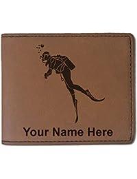 フェイクレザー財布 – Scuba Diver – カスタマイズ彫刻Included (ダークブラウン)