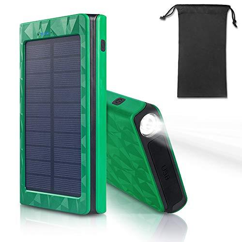 モバイルバッテリー ソーラーチャージャー LEDライト付き 2USB出力ポート ソーラーチャージャー モバイルバッテリー モバイルバッテリー各種機種対応 地震防災  旅行 アウトドアに大活躍 (グリーン)