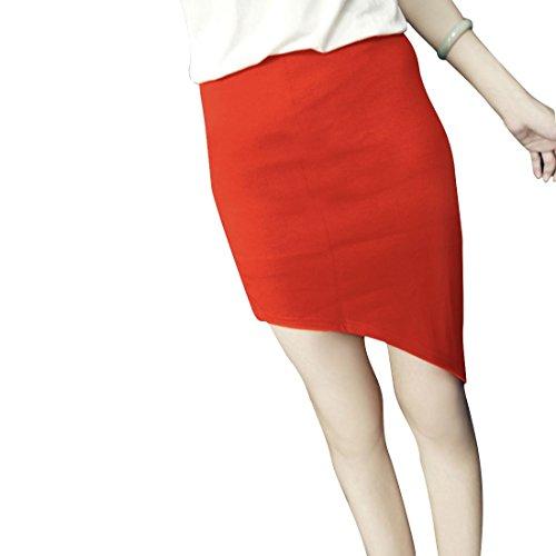 uxcell レディース スカート ショート丈 Aライン 斜め裾 無地 パーティ 着痩せ 春夏 オレンジ XS