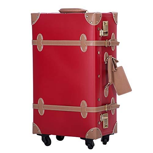 TANOBI トランクケース スーツケース キャリーバッグ SSサイズ機内持ち込み可 復古主義 おしゃれ 可愛い 13色4サイズ (レッド×ライトブラウン, SSサイズ(機内持ち込み可))