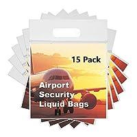 MOCOCYT透明なビニール袋。容量1リットル、サイズ20 x 20 cmの飛行機の中で液体を輸送するために閉めることができる。液体用空港再利用可能封筒[15枚]
