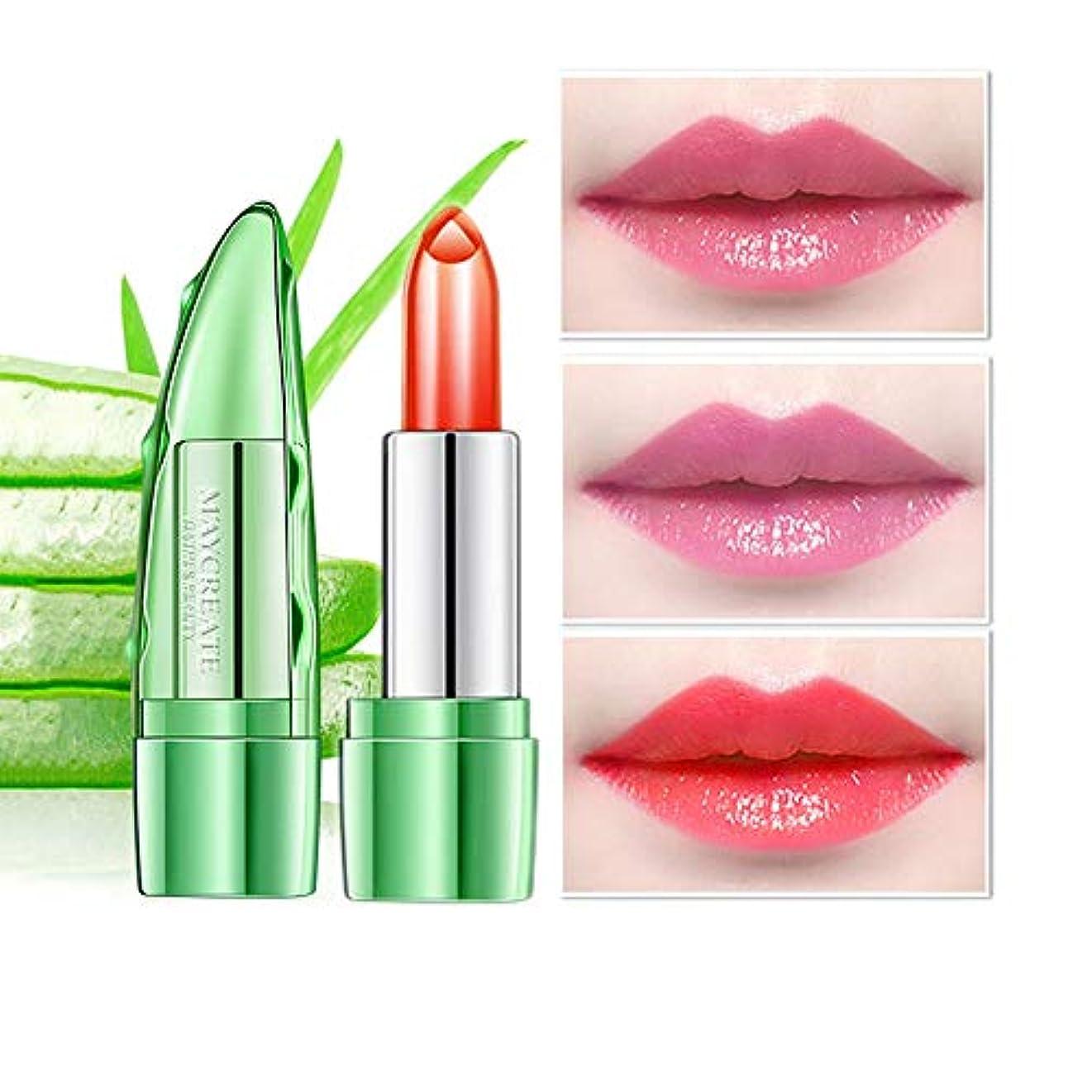 間隔言い換えると予見する1ピースアロエゼリーカラー変更温度口紅、長続きがする保湿唇ケア変色口紅リップペンシルリップグロス (3)