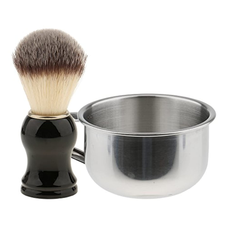 遊具摂動死ひげブラシ メンズ用 髭剃り ブラシ ABSハンドル シェービングブラシ ギフト 2点セット