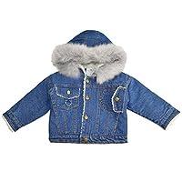 9b63f499e3aa5 Smile キッズ服 デニムジャケット コート アウター フードつき 女の子 厚手 防寒対策 長袖 上着