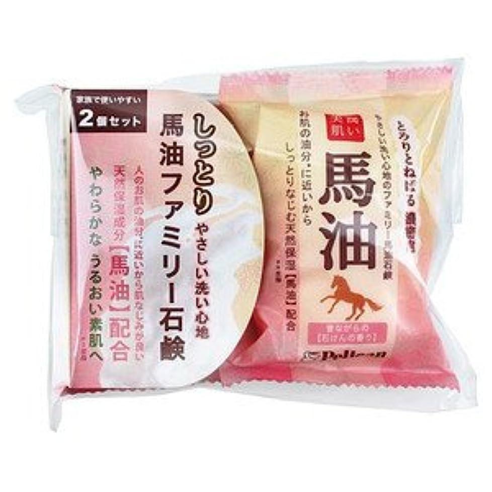 外国人胃抽象ペリカン 馬油ファミリー石けん 80g×2個入りパック×48点セット(計96個) なつかしい昔ながらの石けんの香り