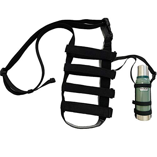 HANGYO ストラップ式 水筒ホルダー ボトルホルダー ボトルストラップ 肩掛け ショルダー (ブラック)