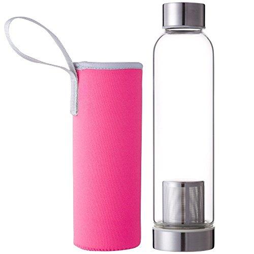 (デマ―クト)De.Markt 水筒 耐熱ガラス水筒 ガラス 耐熱ボトル 茶こし付きボトル ティーボトル  スポーツや遠足や弁当などの日に 550ml カバー付き