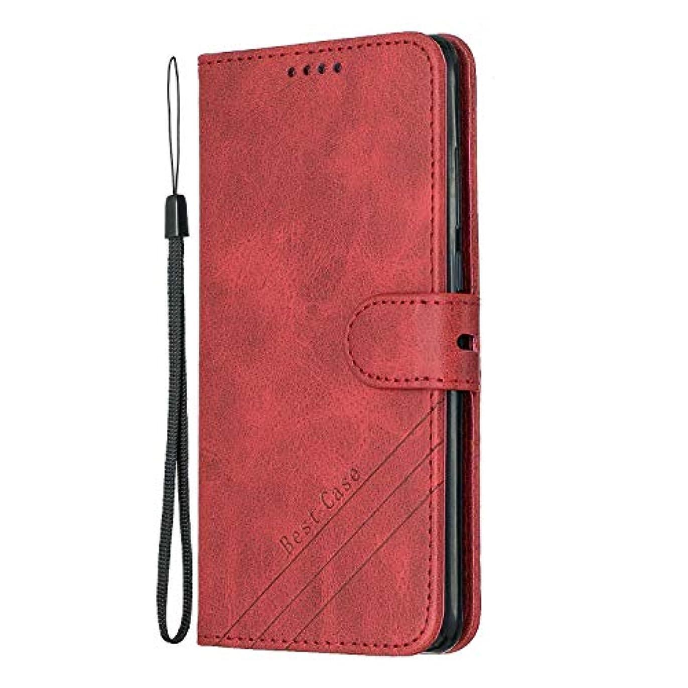 スモッグ中世の電池Tosim Huawei P30 ケース 手帳型 カード収納 高級PUレザー スタンド機能 マグネット ファーウェイP30 財布型 ケース スマホケース 全面保護 衝撃吸収 スマホカバー - TOHEX120356 赤