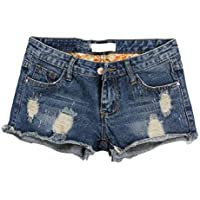 Macondoo Women's Destroyed Washed Jeans Jean Hot Pants Low Rise Short