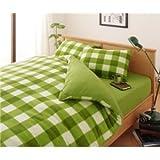 布団カバーセット シングル 柄:チェック カラー:グリーン 32色柄から選べるスーパーマイクロフリースカバーシリーズ ベッド用3点セット