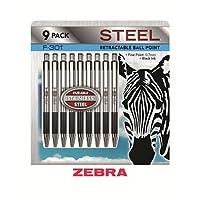 Zebra–f-301Ballpoint格納式ペン,ブラックインク, Fine–9ペン(Pack of 6)
